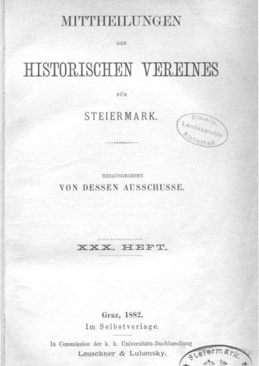 Mittheilungen Heft 30 Titelseite 375x530 - 30. Heft (1882)