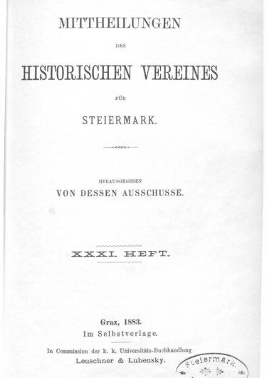 Mittheilungen Heft 31 Titelseite 375x530 - 31. Heft (1883)