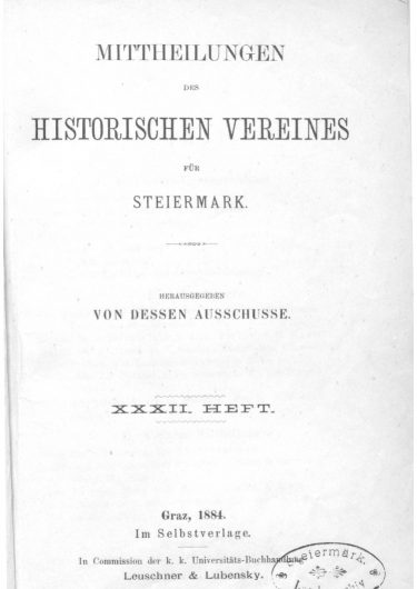 Mittheilungen Heft 32 Titelseite 375x530 - 32. Heft (1884)