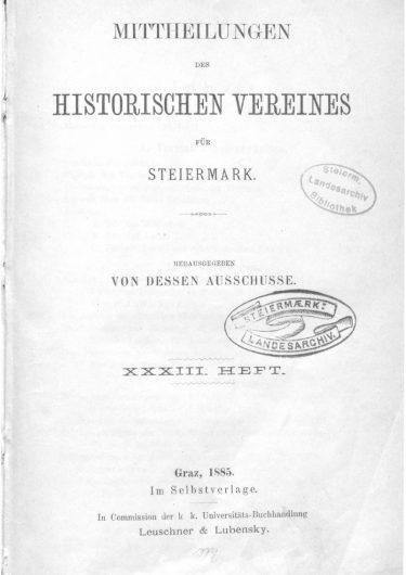 Mittheilungen Heft 33 Titelseite 375x530 - 33. Heft (1885)