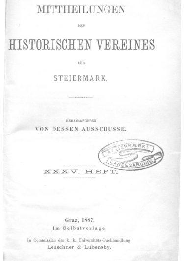 Mittheilungen Heft 35 Titelseite 375x530 - 35. Heft (1887)
