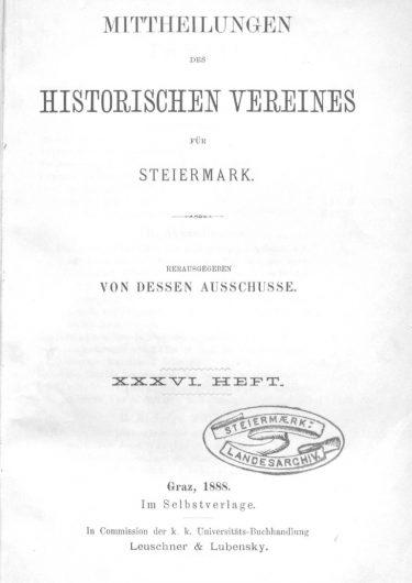 Mittheilungen Heft 36 Titelseite 375x530 - 36. Heft (1888)