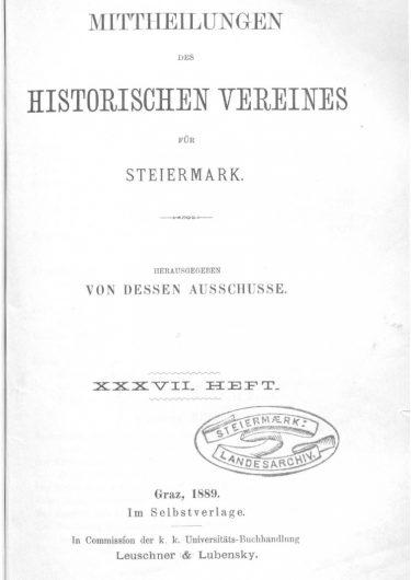 Mittheilungen Heft 37 Titelseite 375x530 - 37. Heft (1889)