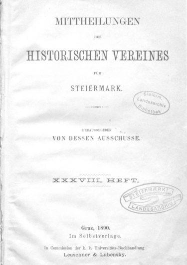 Mittheilungen Heft 38 Titelseite 375x530 - 38. Heft (1890)