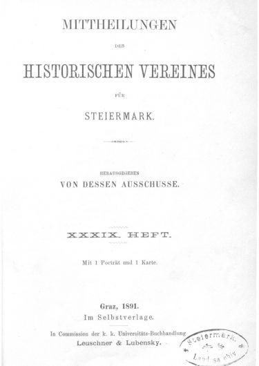 Mittheilungen Heft 39 Titelseite 375x530 - 39. Heft (1891)