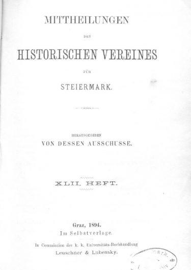 Mittheilungen Heft 42 Titelseite 375x530 - 42. Heft (1894)