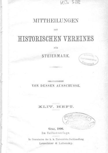 Mittheilungen Heft 44 Titelseite 375x530 - 44. Heft (1896)