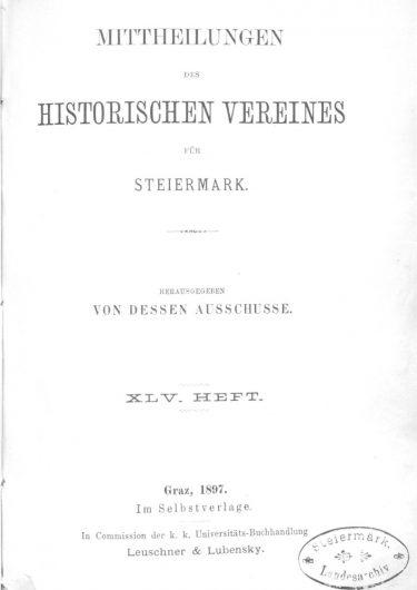 Mittheilungen Heft 45 Titelseite 375x530 - 45. Heft (1897)