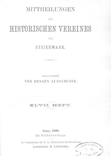 Mittheilungen Heft 47 Titelseite 375x530 - 47. Heft (1899)