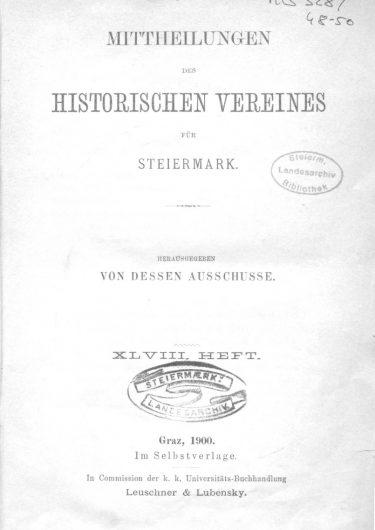 Mittheilungen Heft 48 Titelseite 375x530 - 48. Heft (1900)