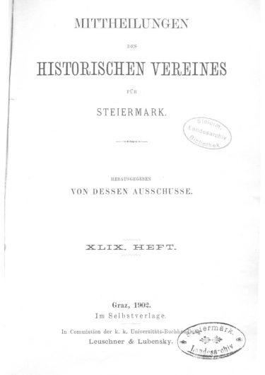 Mittheilungen Heft 49 Titelseite 375x530 - 49. Heft (1902)