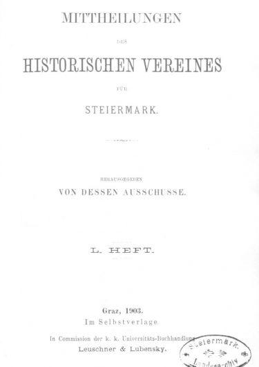 Mittheilungen Heft 50 Titelseite 375x530 - 50. Heft (1903)