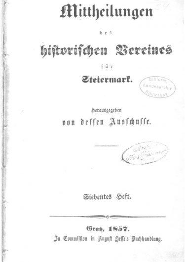 Mittheilungen Heft 7 Titelseite 375x530 - 7. Heft (1857)
