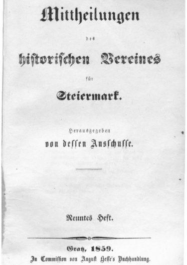 Mittheilungen Heft 9 Titelseite 375x530 - 9. Heft (1859)