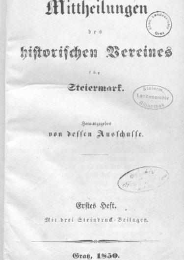 Mittheilungen Titelseite Heft 1 375x530 - 1. Heft (1850)
