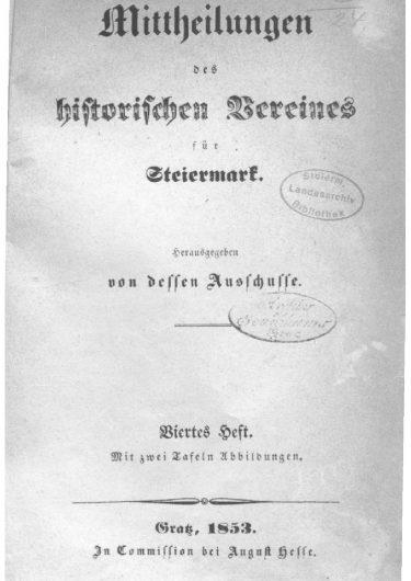 Mittheilungen Titelseite Heft 4 375x530 - 4. Heft (1853)
