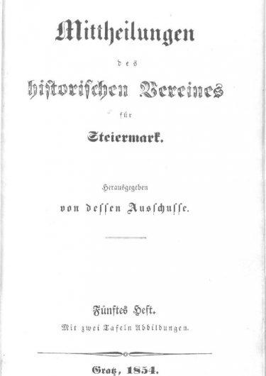 Mittheilungen Titelseite Heft 5 375x530 - 5. Heft (1854)