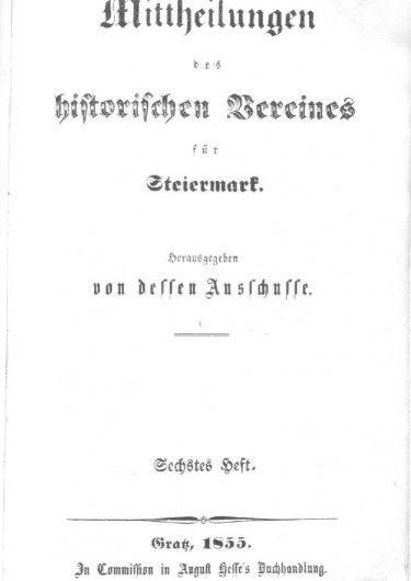 Mittheilungen Titelseite Heft 6 375x530 - 6. Heft (1855)