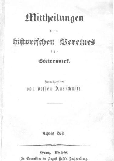 Mittheilungen Titelseite Heft 8 375x530 - 8. Heft (1858)