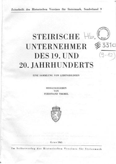 ZHVSt SB9 Titelseite 375x530 - Sonderband 9 (1965)