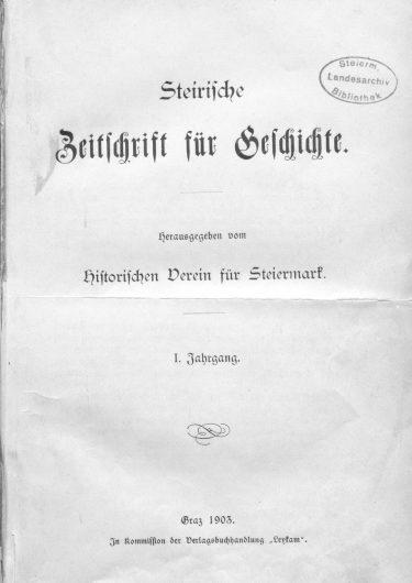 Zeitschrift Jg1 Titelseite 375x530 - Zeitschrift 1 (1903)