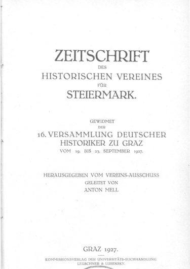 Zeitschrift Jg23 Titelseite 375x530 - Jahrgang 23 (1927)