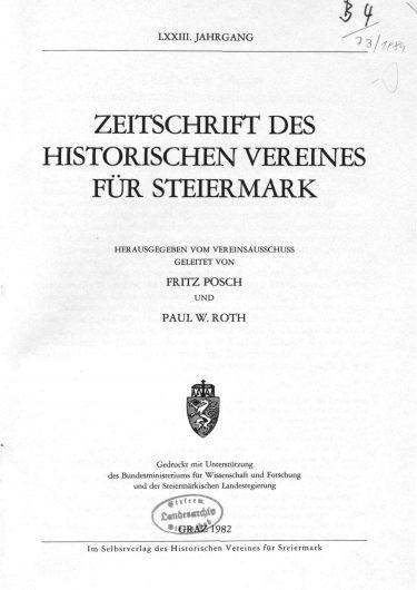 Zeitschrift Jg73 Titelseite 375x530 - Jahrgang 73 (1982)