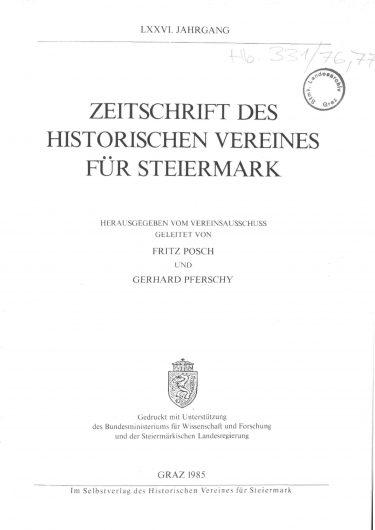 Zeitschrift Jg76 Titelseite 375x530 - Jahrgang 76 (1985)