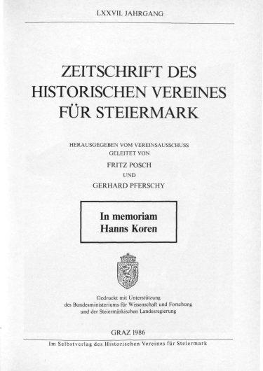 Zeitschrift Jg77 Titelseite 375x530 - Jahrgang 77 (1986)